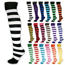 Striped Knee High Tube Socks Black White Neon Pink Red Blue Purple Green Stripe