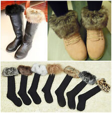 Winter Womens Warm Faux Fur Socks Leg Warmer Stocking Fur Cover Cuff Fit Boots