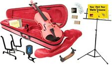 Archetto Metallic Pink Violin with Full Accessory Pack - Various Sizes