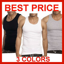 Cotton Basic Mens BLACK A-Shirt Tank Top Ribbed Wife Beater Athletic Undershirt