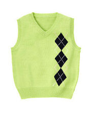 NWT Gymboree Baby Boy Green Argyle Sweater Vest  (Size From Size 3-12 MOS)
