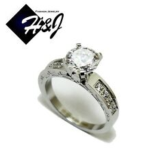 Women's Stainless Steel Silver 1.49 CT Round Cut CZ Engagement Ring