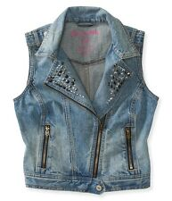 AEROPOSTALE womens  Aero Studded Denim Moto Vest Jean M,L,XL NEW NWT