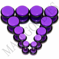 """V106 Fake Cheaters Illusion Faux Ear Plugs 4G 2G 0G 00G 7/16"""" 1/2"""" Purple Violet"""