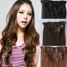 8PCS Full Head Set 1PCS 5 Clips in Hair Extensions Curly/Wave Synthetic 2 Styles