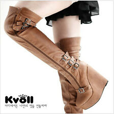 2013 Super Womens Metal belt buckle Wedge Platform Fashion Over the Knee boots