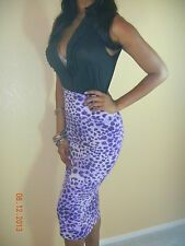 SEXY PURPLE BLACK LEOPARD PENCIL SKIRT TIMELESS CLUB VIXEN SML CAREER TIGHT