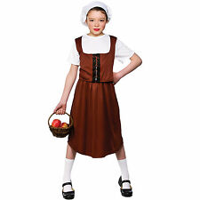 Child Girls Tudor Peasant Girl Costume Fancy Dress Up Role Play Party Halloween