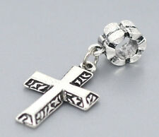Silver Tone Cross Bible Crucifix Faith Dangle Beads Fit European Charm Bracelets