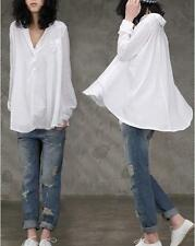 HOT WOMEN VINTAGE WHITE BLOUSE TOP Big SHIRT T-shirts V-NECK Plus Size XL L M