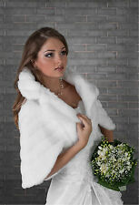 WEDDING FAUX FUR IVORY BRIDAL SHAWL WRAP STOLE SHRUG BOLERO CAPE  S M L XL -B24