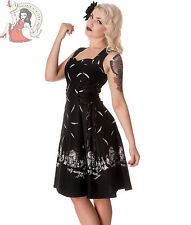 HELL BUNNY ADARE feather haunted DRESS goth BLACK WHITE