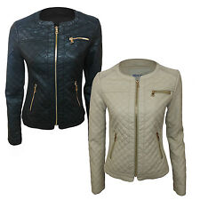 WOMENS LADIES LEATHER LOOK QUILTED SHORT FITTED SEXY ZIP UP BIKER JACKET