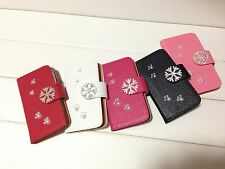 Bling Snowflake Footprints Litchi PU Leather Flip Wallet Case f Sony Cell Phone1