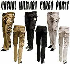 MENS PREMIUM CASUAL MILITARY ARMY CARGO SOLID COMBAT WORK PANTS 3 COLORS