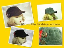Women Girls (D&Y) Trendy Sexy Hat Casual Winter Cadet Wool Plaid w. Button Cap
