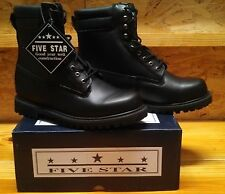 "WORK BOOTS, WIDE 8"" BLACK LEATHER, WATER RESISTANT UPPERS, OIL RESISTANT SOLES"