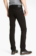 NWT HUDSON Mens Byron Jet Black Slim Straight Leg Jeans Sleek Twill Pants