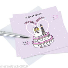 WEDDING & EVENING INVITATION CARDS & MATCHING STATIONARY - ACCEPTANCE, THANK YOU