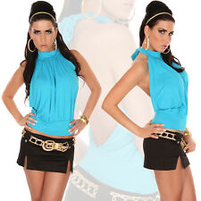 SEXY NEW WOMEN CLUBBING NECK-TOP BACKLESS PARTY TOP 3 COLORS 6,8,10,12 UK