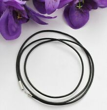 Black Leather Cord Surfer Choker Necklace 3mm - Unisex