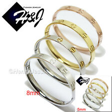 Men's Women's Stainless Steel 5mm 8mm Gold/Silver/Rose Gold Screw Heads Bangle