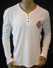 I.R. AFFLICTION STANDARD mens Long sleeve embroidered Vneck HENLEY shirt *MEDIUM