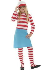 GIRLS WENDA WHERE'S WALLY FANCY DRESS COSTUME CHILDRENS RED WHITE OUTFIT GLASSES