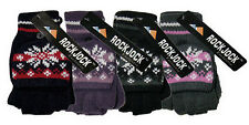 New Ladies Womens Mittens With Cap Fair Isle Design Gloves Rockjock One Size NWT