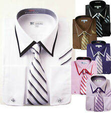 Men's French Cuff Double Collar Solid Dress Shirt Set #14 Cotton Blend