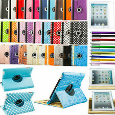 New iPad 4G 3 3rd 2 360 Rotating Magnetic PU Leather Case Smart Cover /FREE GIFT