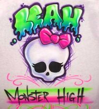 Cute Monster High Airbrushed Skull T-Shirt Personalized with Any Name