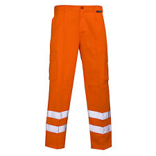 HI VIS ORANGE RAIL COMBAT CARGO TROUSERS HIGH VISIBILITY SAFETY WORK TROUSER REG