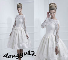 New Tea-length White/Ivory Weding Dress Lace Long sleeve Bride Gown Dress