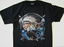 NEW Native American Indian Eagle Wolf Streetwear Black T-Shirt  S/M/L