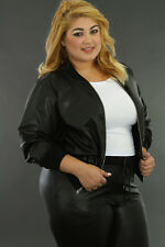 Plus Size Ladies Women Black Long Sleeve Faux Leather Jacket 2 giti online