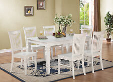 7PC RECTANGULAR DINETTE KITCHEN DINING SET TABLE & 6 WOOD SEAT CHAIRS IN WHITE