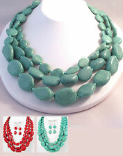 """Turquoise or Red Statement Necklace Celebrity Inspired Jewelry 16-19"""" Lg Boxed"""