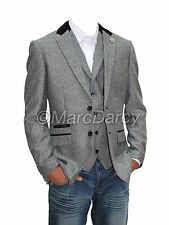 Mens Designer Herringbone Tweed Grey Slimfit Blazer Casual Jacket Velvet Patches