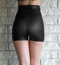 Black Wet Look High Waisted Hot Shorts Shiny Pinup 50's Inspired Stretch Lame