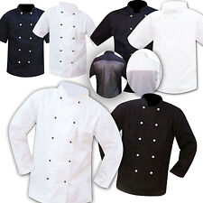CHEF JACKET /  CHEF JACKETS BLACK AND WHITE STUDDED FASTENING S,M,L,XL & XXL