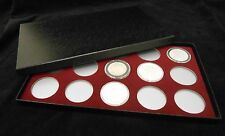 Display Box for Coins AirTite Capsule Holders 15 I Burgundy SILVER EAGLE MORGANS