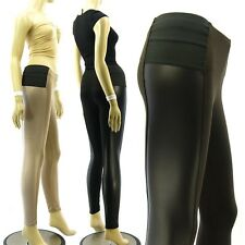 Skinny Elastic Waist Band Middle Rise Faux Leather Sides Leggings Pants 3Colors
