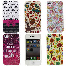 Tower Tree Bowknot Mustaches Image Smooth Silicone TPU Gel Case for iPhone 4 4S