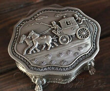 Tin Silver metal Vintage Antique Art Deco Style Work Jewelry Box Case Container
