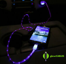 Red Car Charger - Micro USB Cell Phone Smart Fast LED Glow Cable Light Up Glo