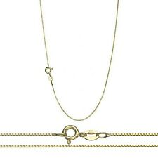 18K Gold over .925 Silver 0.8mm Thin Box Chain Necklace for Pendants - ALL SIZES