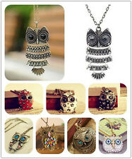 Retro Vintage Bronze Rhinestone Hollow Out Owl Pendant Necklace Jewelry Gift