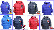 Boys Winter School Hooded Puffa Jacket Coat Spiderman, Cars, Planes, Mickey