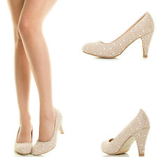Nude Lace Overlay Crochet Floral Mesh Med Low Stack Heel Classic Women Pump Shoe